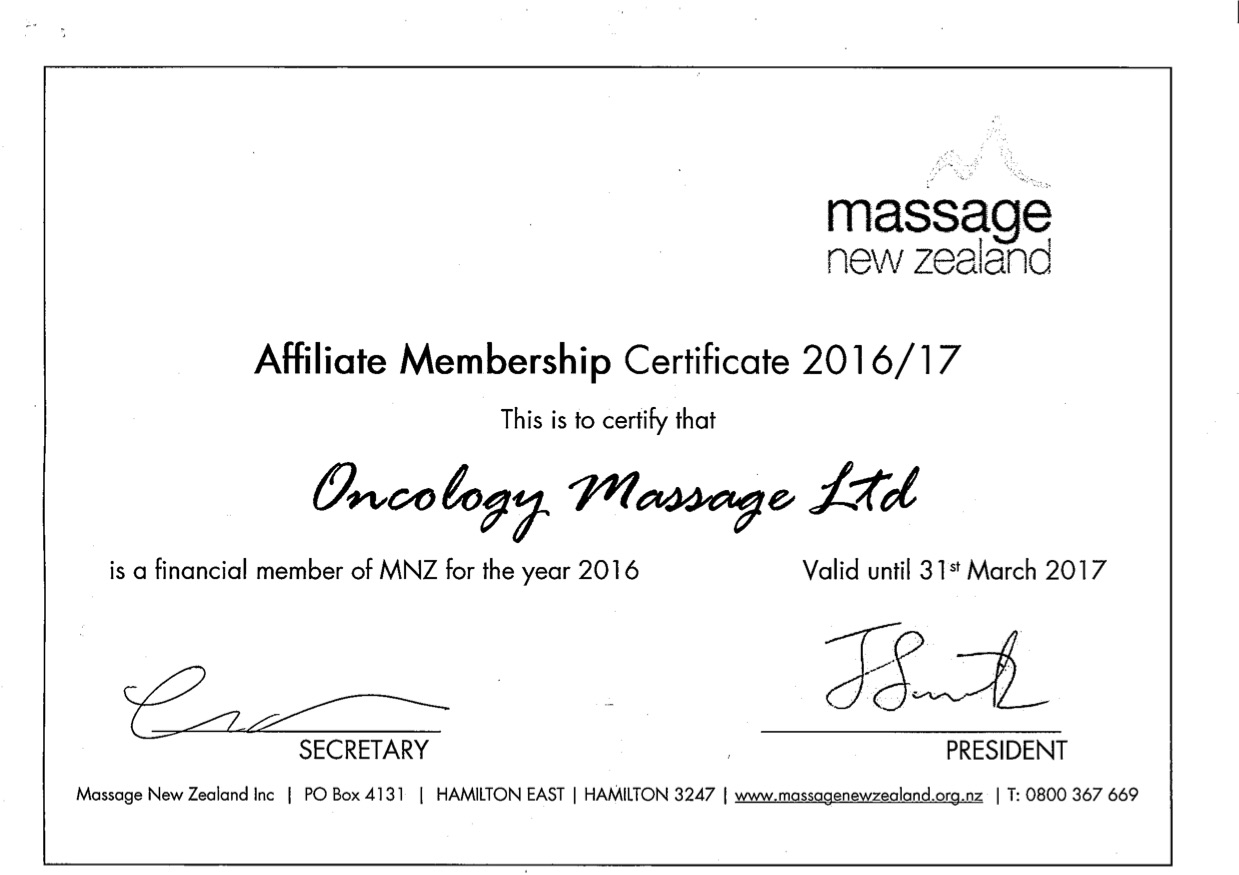 New Zealand Therapists Oncology Massage Limited Oml